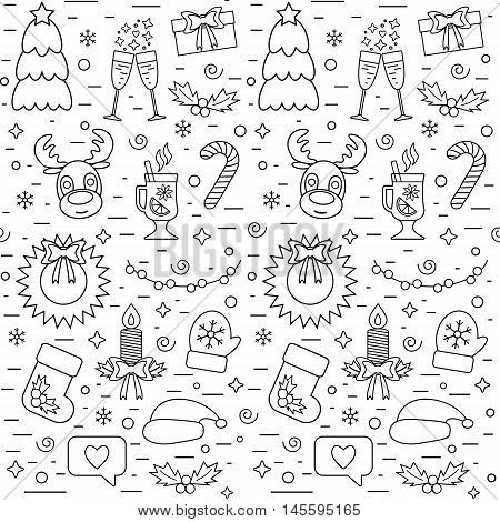Isolated Christmas and New Year seamless pattern with traditional attributes in line style. Vector illustration