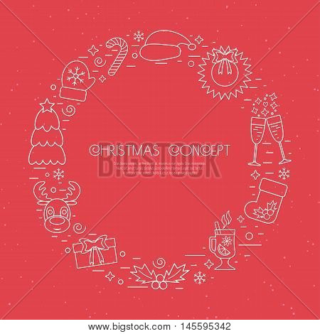 Christmas holidays circle frame with traditional attributes in line style with white icons over red background. Vector illustration