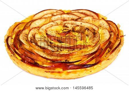 French Apple Tart Sweet Food Isolated on White Background