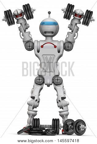 Humanoid robot with dumbbells. Isolated. 3D Illustration