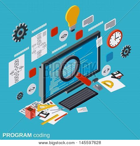 Program coding, SEO optimization, application development, web programming flat isometric vector concept