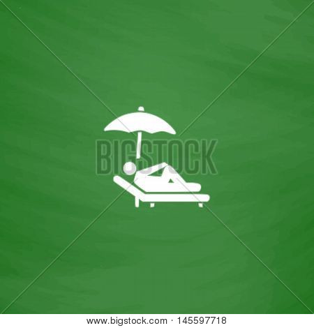 lounger Simple vector button. Imitation draw icon with white chalk on blackboard. Flat Pictogram and School board background. Illustration symbol