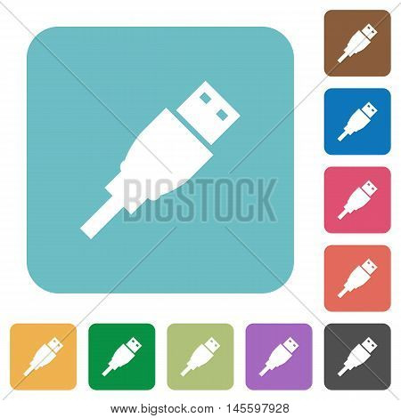 Flat USB plug icons on rounded square color backgrounds.