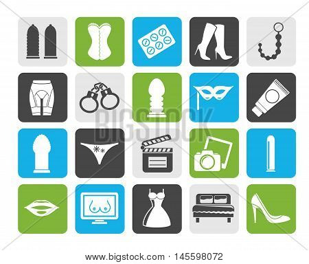 Silhouette Sex, Erotic and temptation icons  - vector icon set