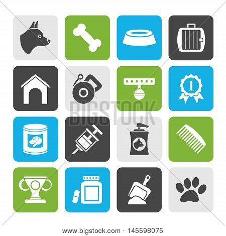 Silhouette Dog and Cynology object icons - vector icon set