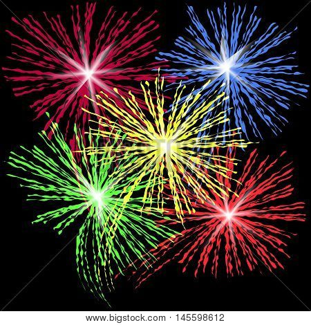 Colorful fireworks in honor of Independence Day on a black background vector illustration.