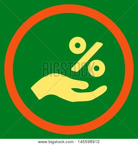 Percent Offer Hand vector bicolor rounded icon. Image style is a flat icon symbol inside a circle, orange and yellow colors, green background.
