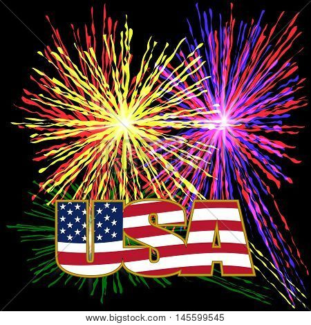 US inscription stylized flag colors in a gold frame on a background prazdnechnogo fireworks on Independence Day. Vector illustration