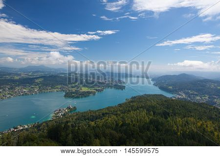 View from observation tower Pyramidenkogel To Lake Woerth Carinthia Austria