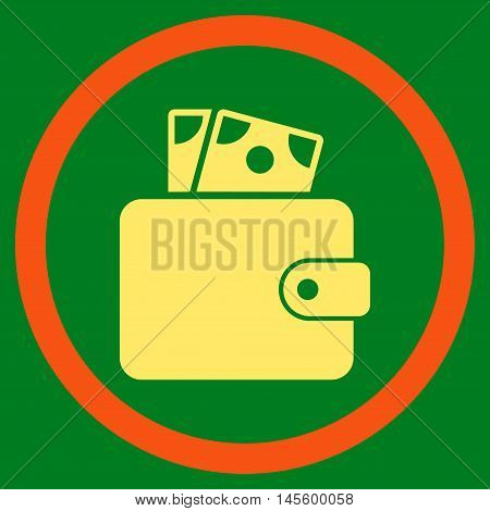 Wallet vector bicolor rounded icon. Image style is a flat icon symbol inside a circle orange and yellow colors green background.