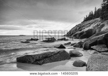 View of the rocky cliff shore line at Acadia National Park. Maine New England USA