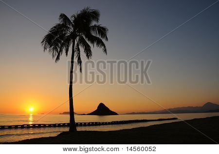 Chinamans Hat Sunrise, Oahu Hawaii