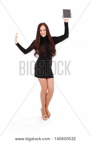 Girl showing tablet pc by one hand isolated on white