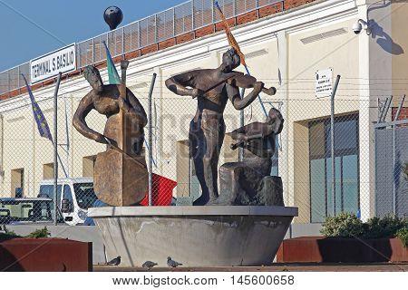 VENICE ITALY - DECEMBER 19 2012. Le Putte di Antonio Vivaldi Sculpture by Gianni Arico at Port in Venice Italy.