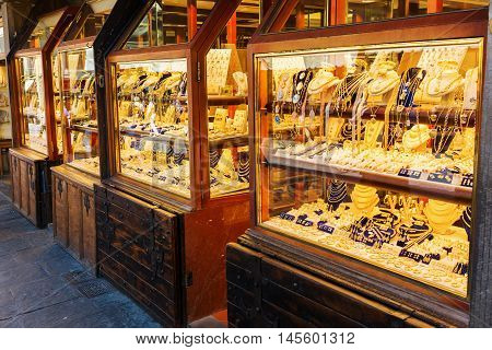 jewelry store on the famous Ponte Vecchio in Florence Italy