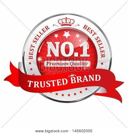 Trusted brand, best seller, premium quality - shiny red icon / ribbon for retail companies