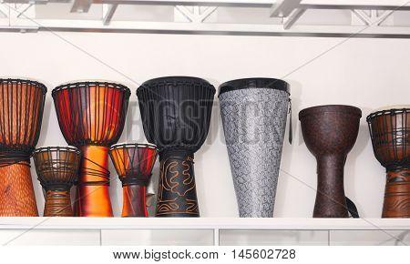 Darbuka drums in music shop