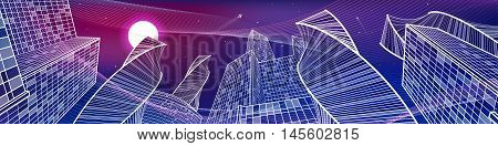 Business building, night city panorama, urban scene, infrastructure illustration, neon waves, modern architecture, skyscrapers, airplane flying, vector design art