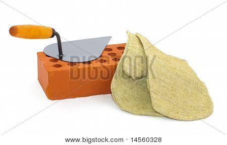 Red Perforated Ceramic Brick, Trowel And Gauntlet Isolated On White