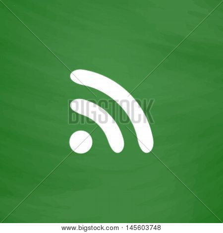 podcast Simple vector button. Imitation draw icon with white chalk on blackboard. Flat Pictogram and School board background. Illustration symbol