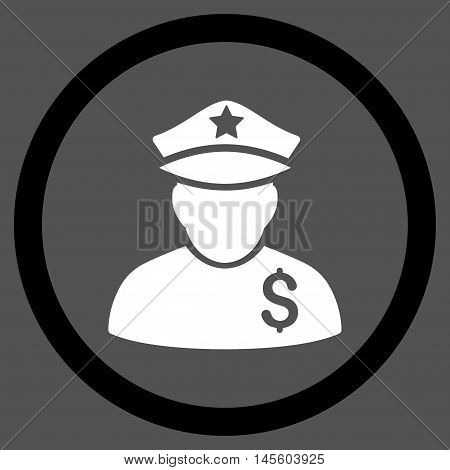 Financial Policeman vector bicolor rounded icon. Image style is a flat icon symbol inside a circle, black and white colors, gray background.