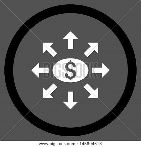 Mass Cashout vector bicolor rounded icon. Image style is a flat icon symbol inside a circle black and white colors gray background.