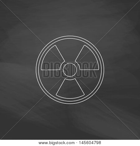 Radiation Simple vector button. Imitation draw icon with white chalk on blackboard. Flat Pictogram and School board background. Illustration symbol