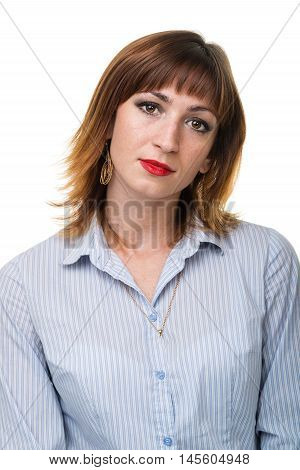 Closeup portrait of sad and depressed woman isolated on white with copyspace studio shot