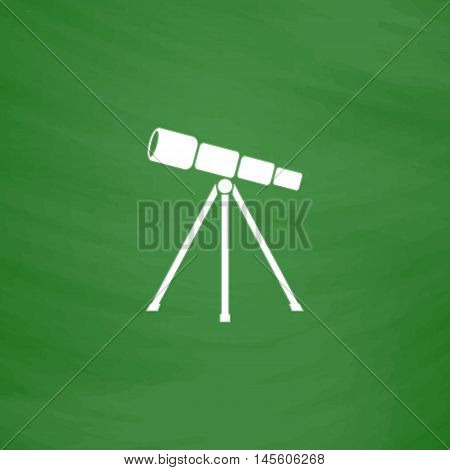 Telescope Simple vector button. Imitation draw icon with white chalk on blackboard. Flat Pictogram and School board background. Illustration symbol