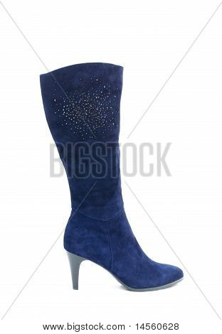 Blue Female Shammy Boot Isolated On White