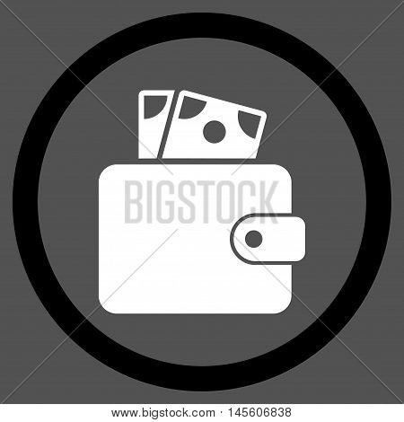 Wallet vector bicolor rounded icon. Image style is a flat icon symbol inside a circle, black and white colors, gray background.