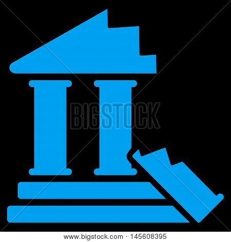 Historic Ruins icon. Vector style is flat iconic symbol, blue color, black background.