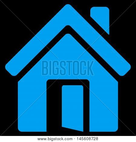 Open House Door icon. Vector style is flat iconic symbol, blue color, black background.