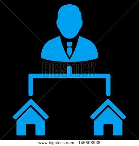 Realty Manager icon. Vector style is flat iconic symbol, blue color, black background.