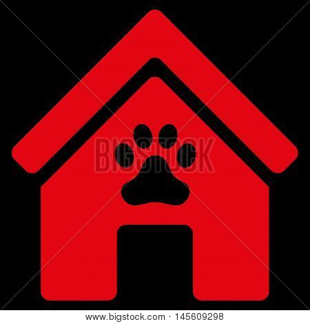 Doghouse icon. Vector style is flat iconic symbol, red color, black background.
