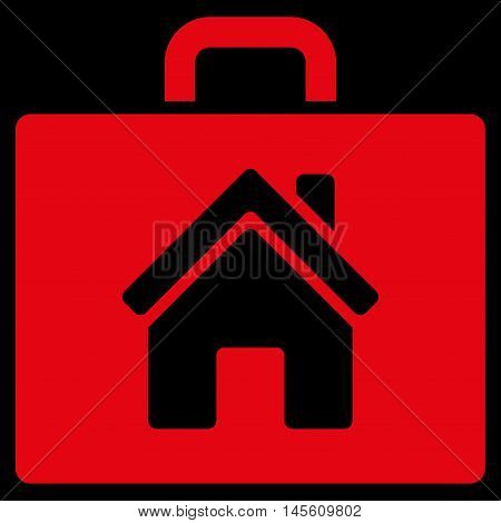 Realty Case icon. Vector style is flat iconic symbol red color black background.