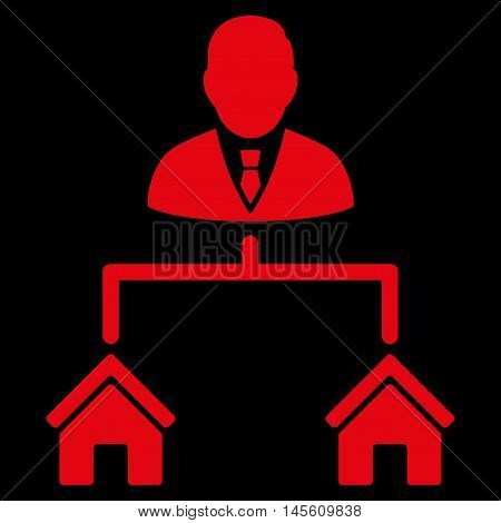 Realty Manager icon. Vector style is flat iconic symbol red color black background.