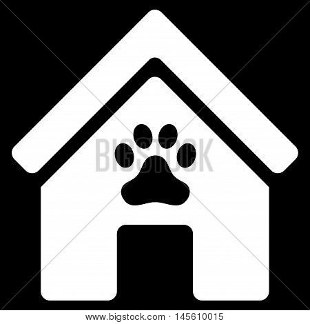 Doghouse icon. Vector style is flat iconic symbol white color black background.