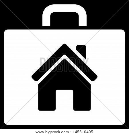 Realty Case icon. Vector style is flat iconic symbol white color black background.