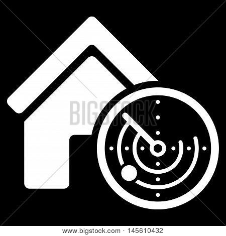 Realty Radar icon. Vector style is flat iconic symbol white color black background.