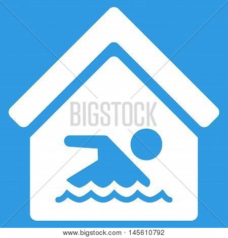 Indoor Water Pool icon. Vector style is flat iconic symbol white color blue background.