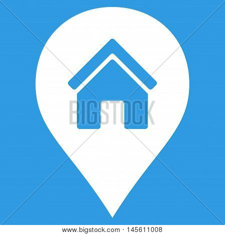 Realty Map Marker icon. Vector style is flat iconic symbol white color blue background.