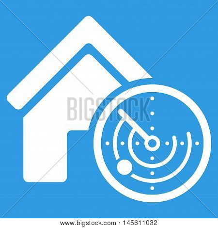 Realty Radar icon. Vector style is flat iconic symbol white color blue background.