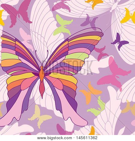 Butterfly Seamless Pattern. Happy Summer Party Background In Pop-art 1960S Style
