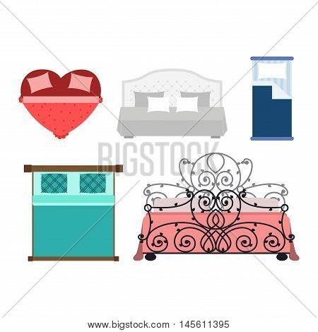 Vector bed icon interior home rest. Bed vector sleep furniture icon. Bed vector house information bedtime modern service sleep furniture.