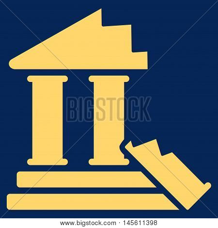 Historic Ruins icon. Vector style is flat iconic symbol yellow color blue background.