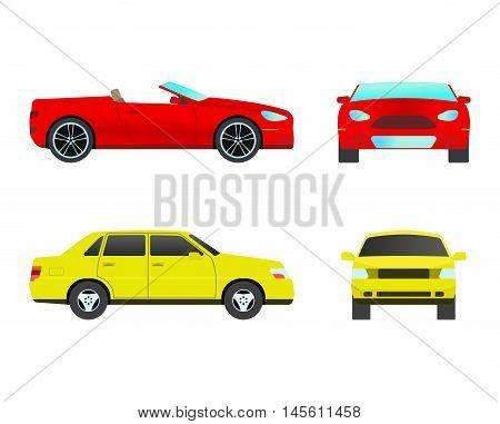 Car sedan vehicle transport type design sign technology style vector. Generic sedan car design flat vector illustration isolated on white. Transport sedan object
