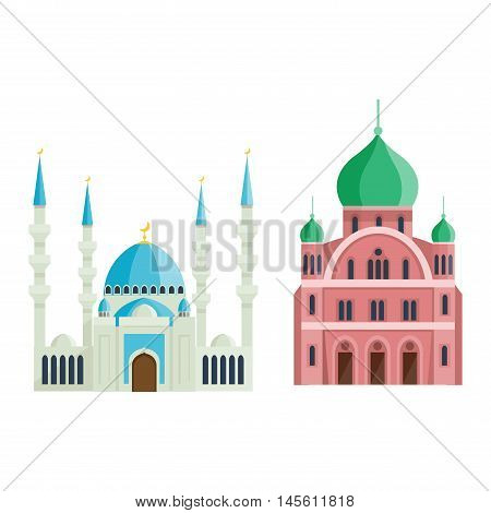 Cathedral and churche infographic temple building landmark tourism vector. Temple building world religions. Cathedral and churche temple building.