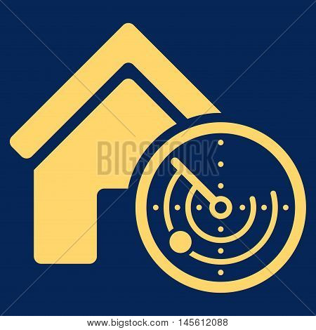 Realty Radar icon. Vector style is flat iconic symbol yellow color blue background.