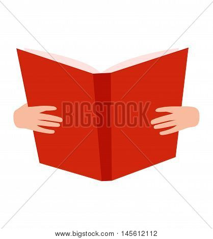 Open book with hands vector illustration in flat design style isolated on white. Academic opened book learning symbol, reading school sign. Knowledge reading design isolated science text book cover